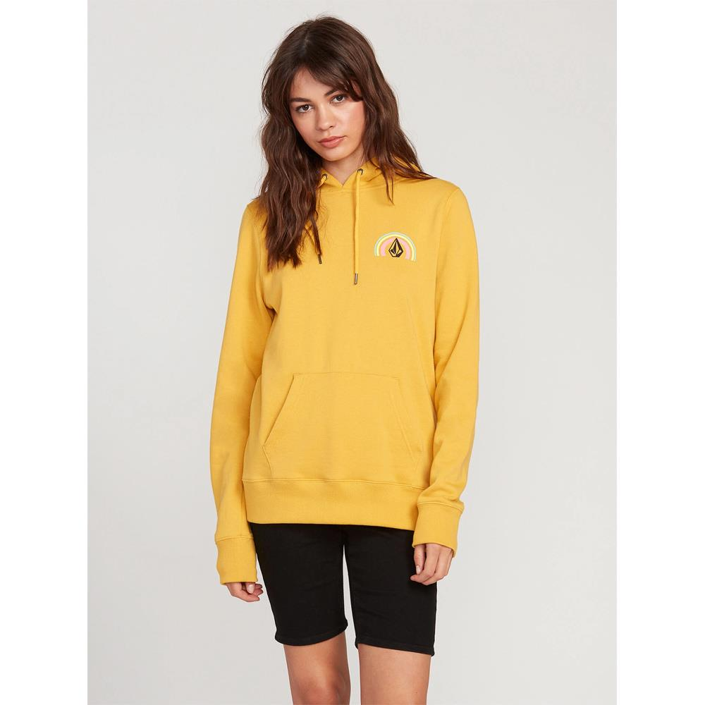 B4112000-SRS, SUNRISE, YELLOW, VOLCOM, STONE HOODIE, WOMENS PULLOVER HOODIES, SPRING 2020 FRONT VIEW