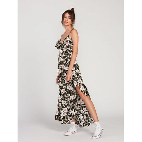 B1312015-BLC, BLACK COMBO, FLORAL, VOLCOM, COCO MAXI DRESS, WOMENS DRESSES, SPRING 2020