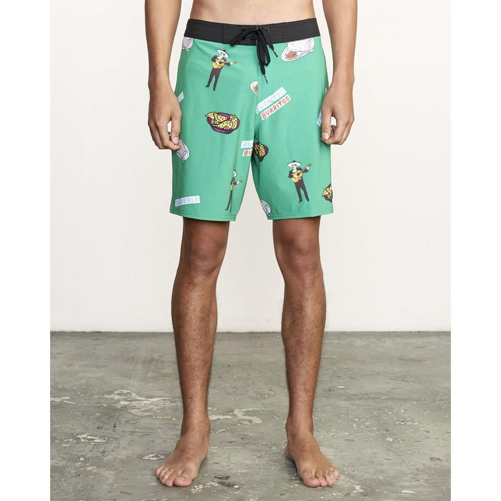 M1171RHF-GRN, GREEN, RVCA, HOT FUDGE TRUNKS, MENS BOARDSHORTS, MENS SWIM TRUNKS, SPRING 2020