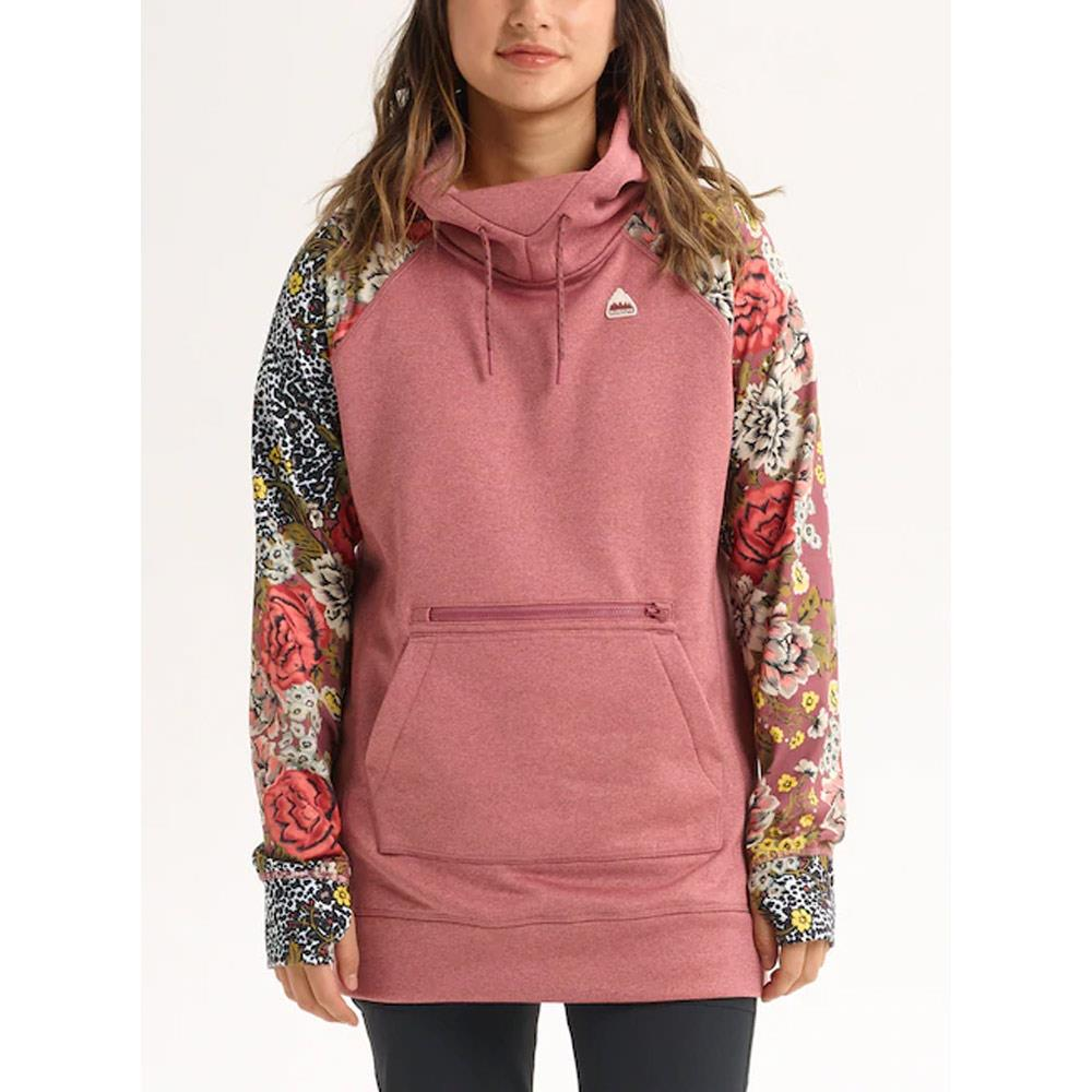 20840101200-Rose Brown Heather/ Cheetah Floral, Pink, Burton, Oak Long Pullover Hoodie, Womens Pullover Hoodies, Fall 2019