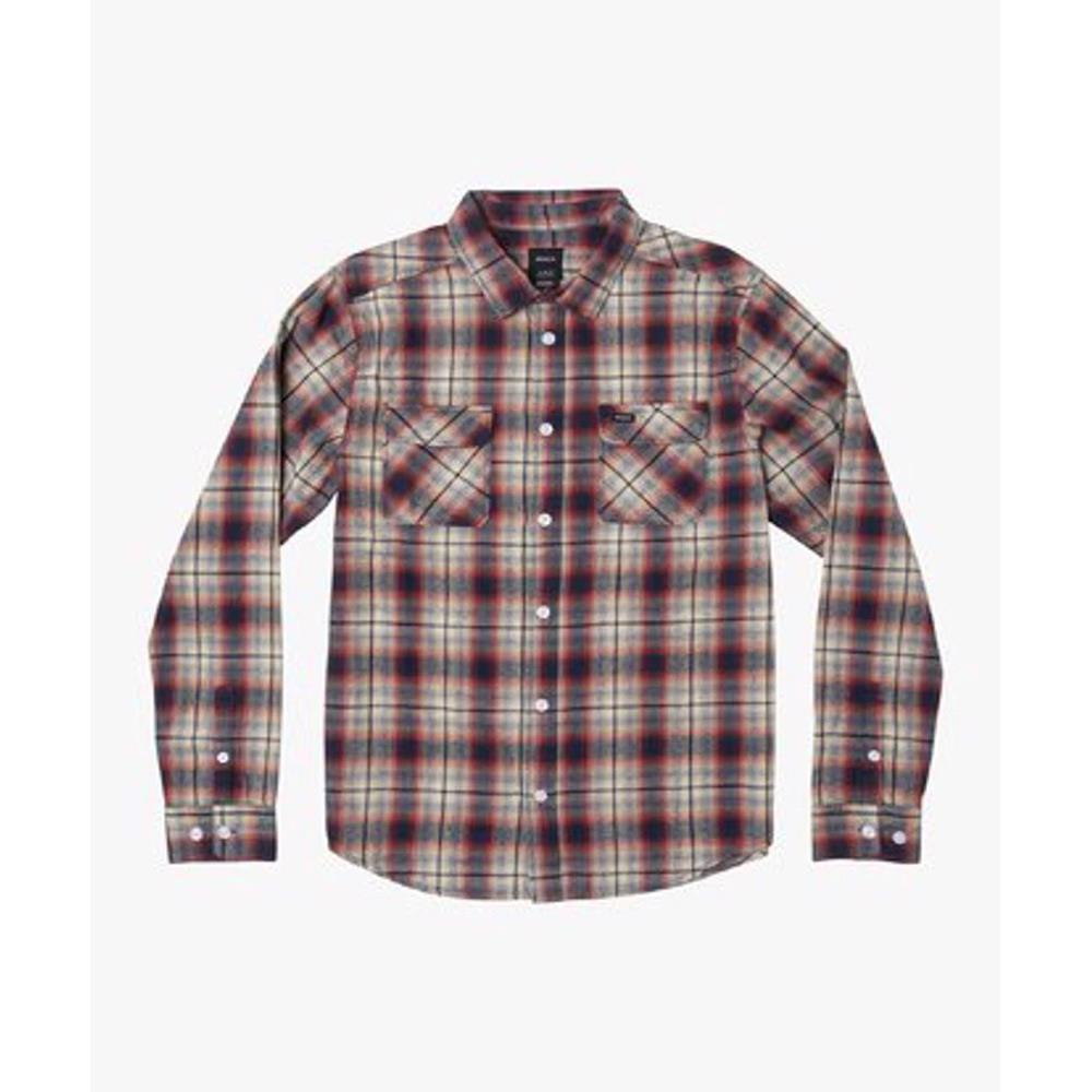 M556WRHO-BAP, BAKED APPLE, RVCA HOSTILE FLANNEL LS, MENS LONG SLEEVE FLANNEL SHIRTS, HOLIDAY 2019