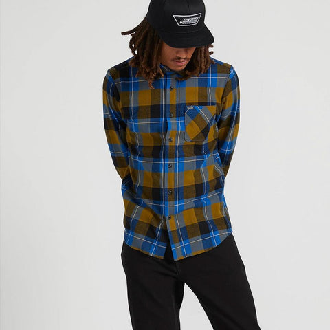A0541906-SNC, SONIC GREEN, CADEN PLAIN LONG SLEEVE WOVEN SHIRT, VOLCOM, MENS BUTTON UP SHIRTS, HOLIDAY 2019