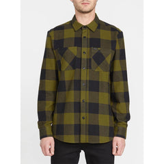 A0541904-SNC, SONIC GREEN, SHADE STONE L/S, VOLCOM, MENS BUTTON UP SHIRTS, MENS WOVEN LONG SLEEVE, HOLIDAY 2019