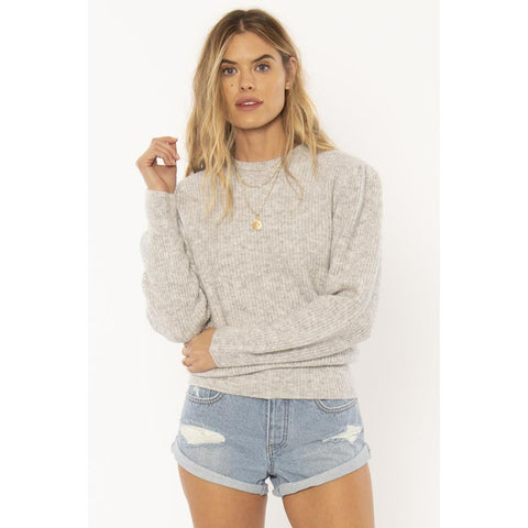 a803mflo-grh Amuse Society Florence Sweater grey heather front