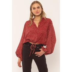 a507ncam-fig Amuse Society Camille Woven Top fig front