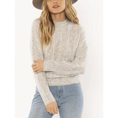 A803NALI-GRH, GREY HEATHER, GREY, AMUSE SOCIETY, ALINE KNIW SWEATER, WOMENS SWEATERS, HOLIDAY 2019