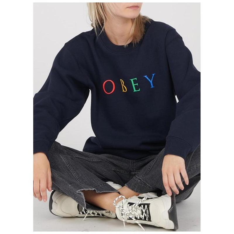Obey, 217531274.DNV, Dark Navy, Novel 2 Box Fit Crewneck, Womens Sweatshirts, Fall 2019