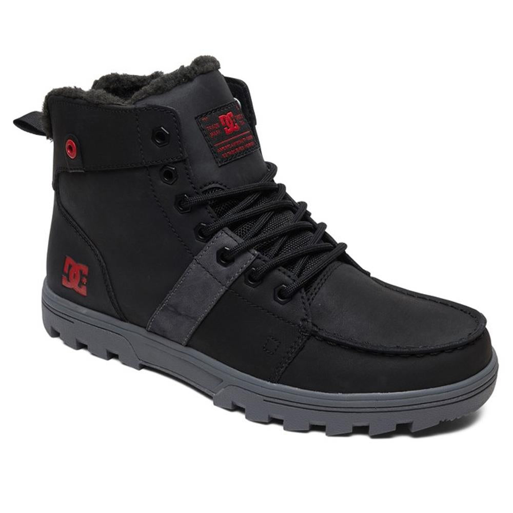 DC, ADYB700027-BTA, BLACK/BATTLESHIP/ATHLETIC RED, WOODLAND SHERPA LINED WINTER BOOTS, MENS WINTER BOOTS, FALL 2019
