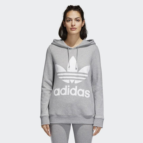 cy6665 Adidas Trefoil Hoodie medium grey heather front view