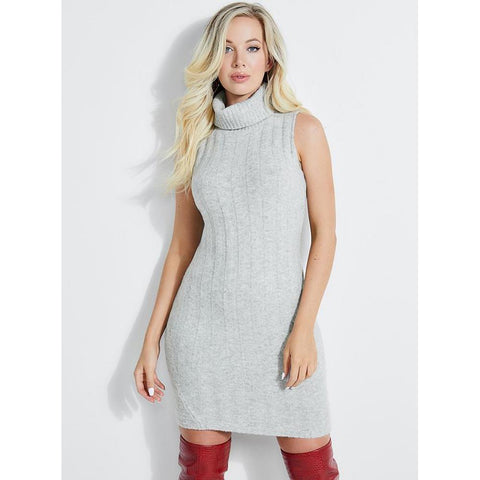 w93k10r1fy0-m90 Guess Olina Ribbed Dress grey front