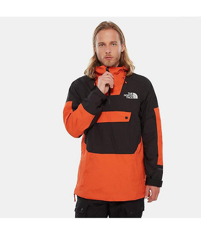 nf0a3lzag30 The North Face Silvani Anorak Mens Jacket papaya orange tnf black front view