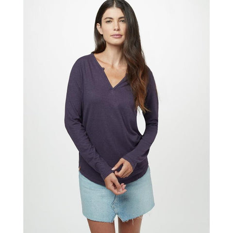 tcw1516-0481 Ten Tree Moraine Long Sleeve Top womens shirt aubergune purple front view