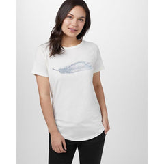 tcw1714-0453 Ten Tree Feather Wave Short Sleeve Tee womens shirt elm white heather front view