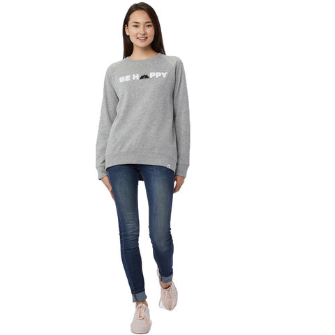 tcw2038-0235 Ten Tree Happy Crew Long Sleeve Shirt womens shirt hi rise grey front view