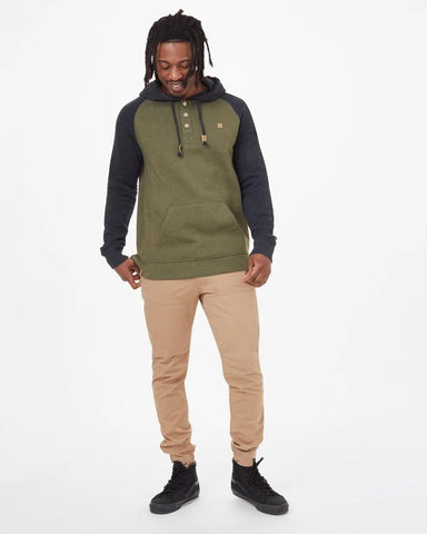 TCM1472-1350,Ten Tree,Mens Pullover Hoodie,Olive Green Heather/Meteorite Black Heather
