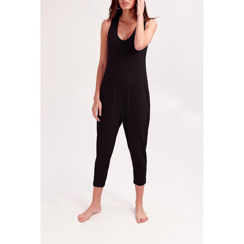 ss18002-black Smash And Tess The Saturday Romper midnight black front view