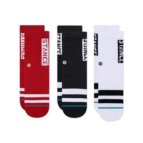 K526D19OGP.MUL, Black, Red, White, Stance Og 3 pack of socks, Kids Socks