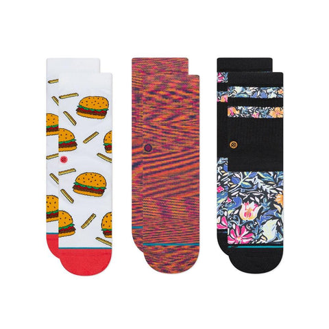 K526D19ZOP.MUL, ORANGE, BLACK, WHITE, RED, STANCE, KIDS ZOE 3 PACK, KIDS CREW SOCKS