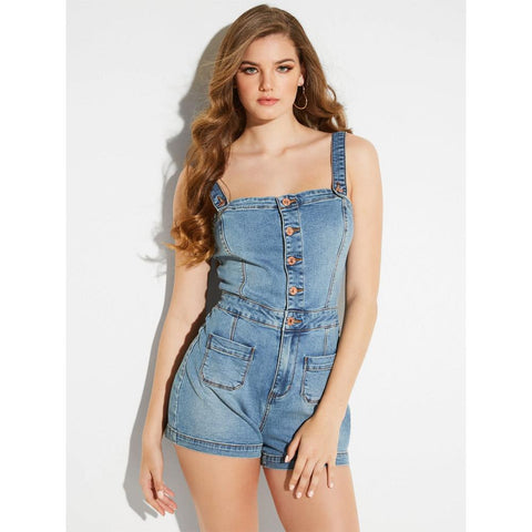 Guess Denim Button-Up Romper