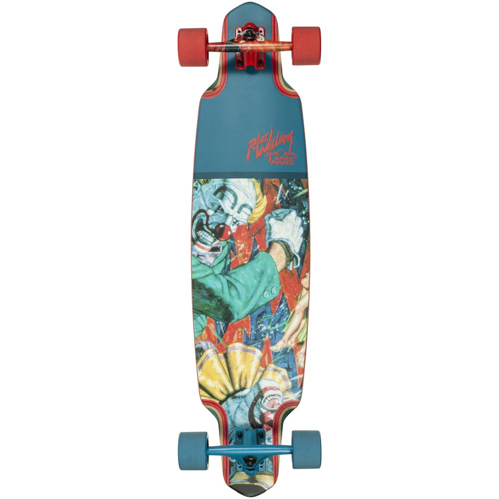 "10531483-colred, 38"", red, blue, Dusters, Two-Faced Buffoons, Longboard Complete, Top Mount Longboard"