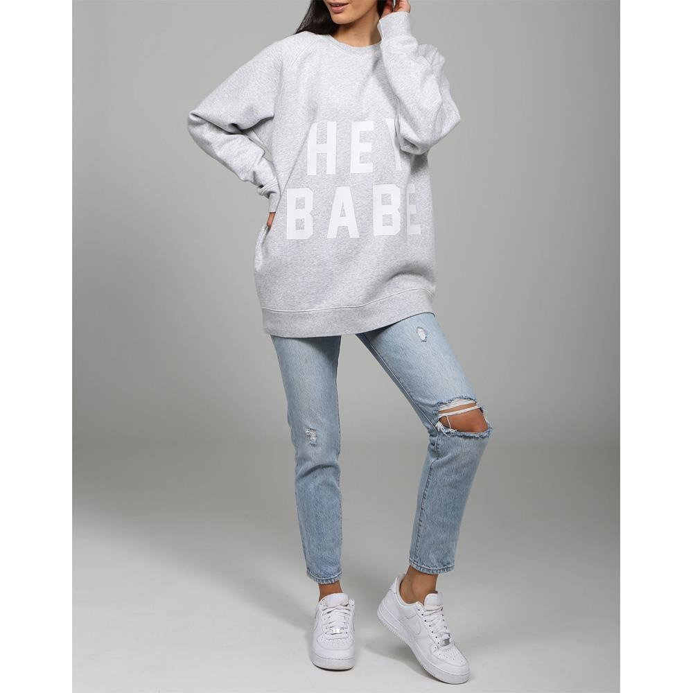 BTL096-PGRY, PEBBLE GREY, HEY BABE BIG SISTER CREW, BRUNETTE THE LABEL, WOMENS SWEATSHIRTS, WINTER 2019