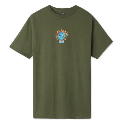 TS01180-OLV, Huf, Sick Sad World SS Tee, Mens Short Sleeve T-Shirts, Olive, Green