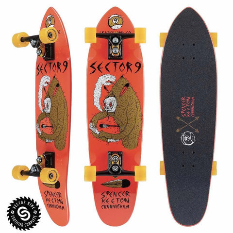 S919AO-COMP-0029, Sector 9, SKC Downfall Complete, Longboard Complete, Top Mount Longboards, Orange