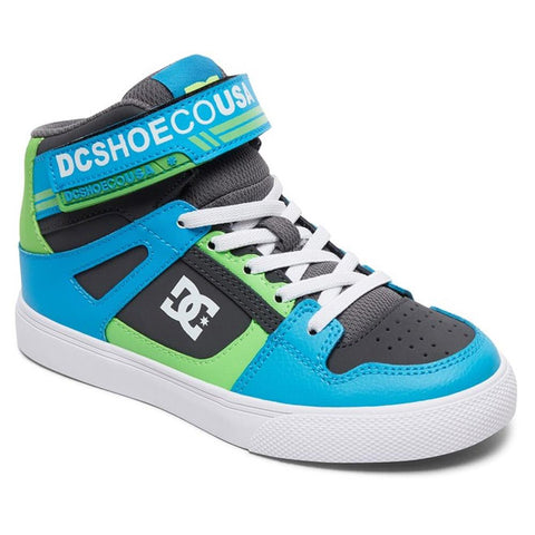 ADBS300324-XSGB, Grey / Green / Blue, DC, Kids Pure High Tops EV Shoes, Kids High Tops