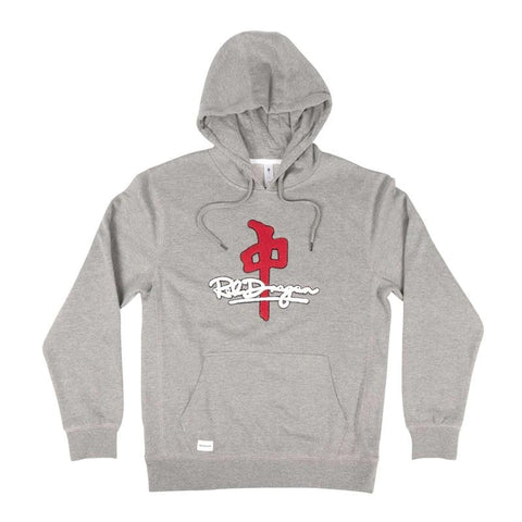 RD10040-RDS-MENS PULLOVER HOODIES-HEATHER GREY/RED