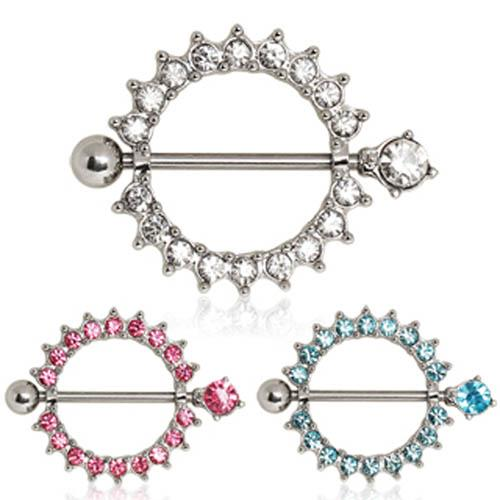 Nomads Nipple Ring With Multi CZ Ring