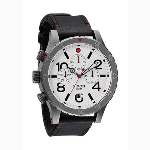 Nixon 48 20 Chrono Mens Leather Strap Watches