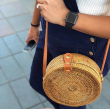 Brown Circle Rattan Bag