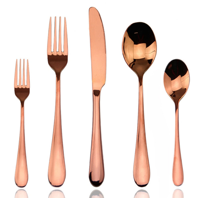 6 Set Rose Gold Western Metal Cutlery