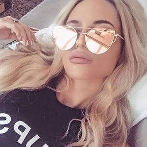Rose Gold Cat Eye Mirror Sunglasses