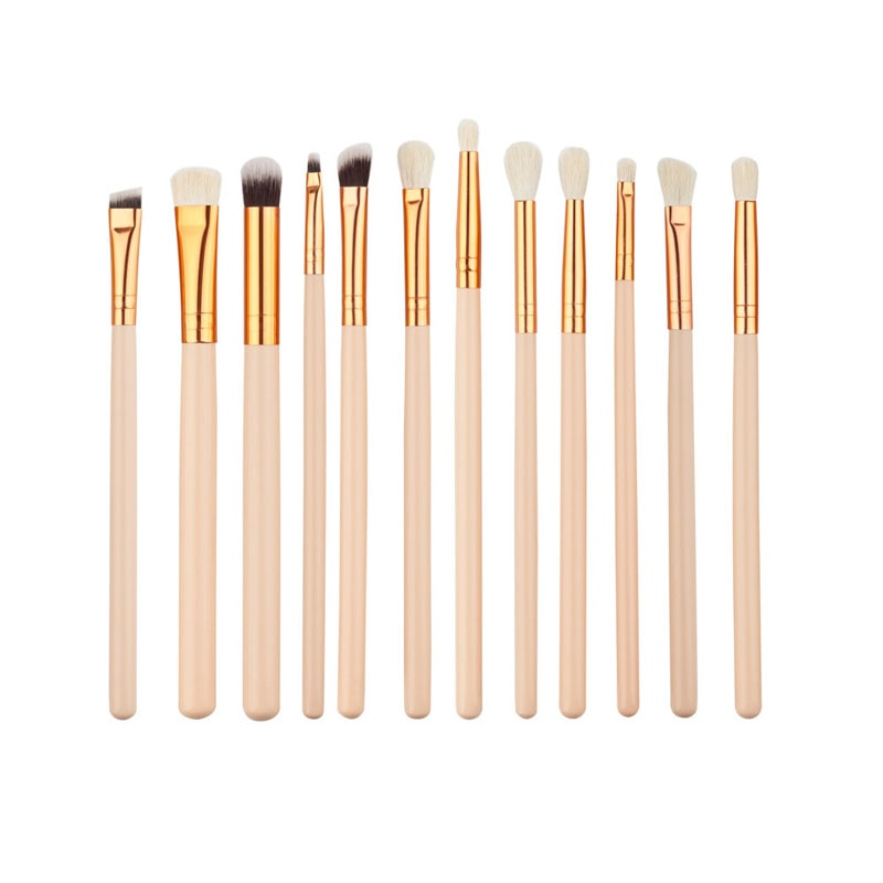 12 Pc Gold Makeup Brush Set