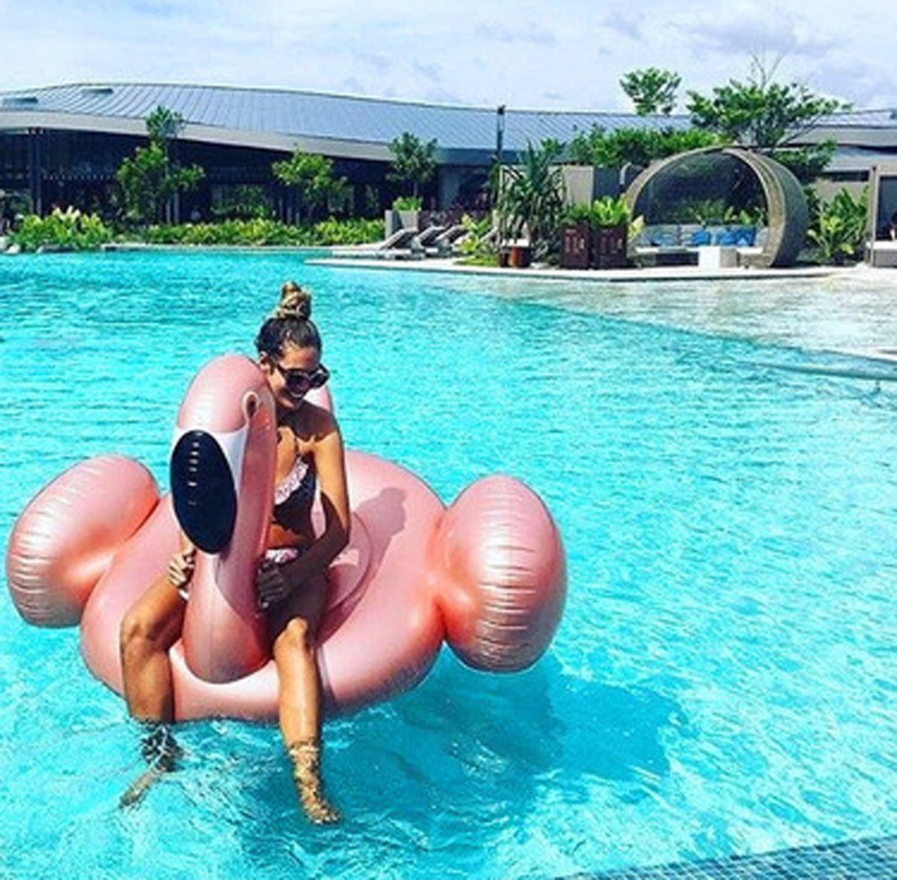 Rose Gold Inflatable Flamingo Pool Float