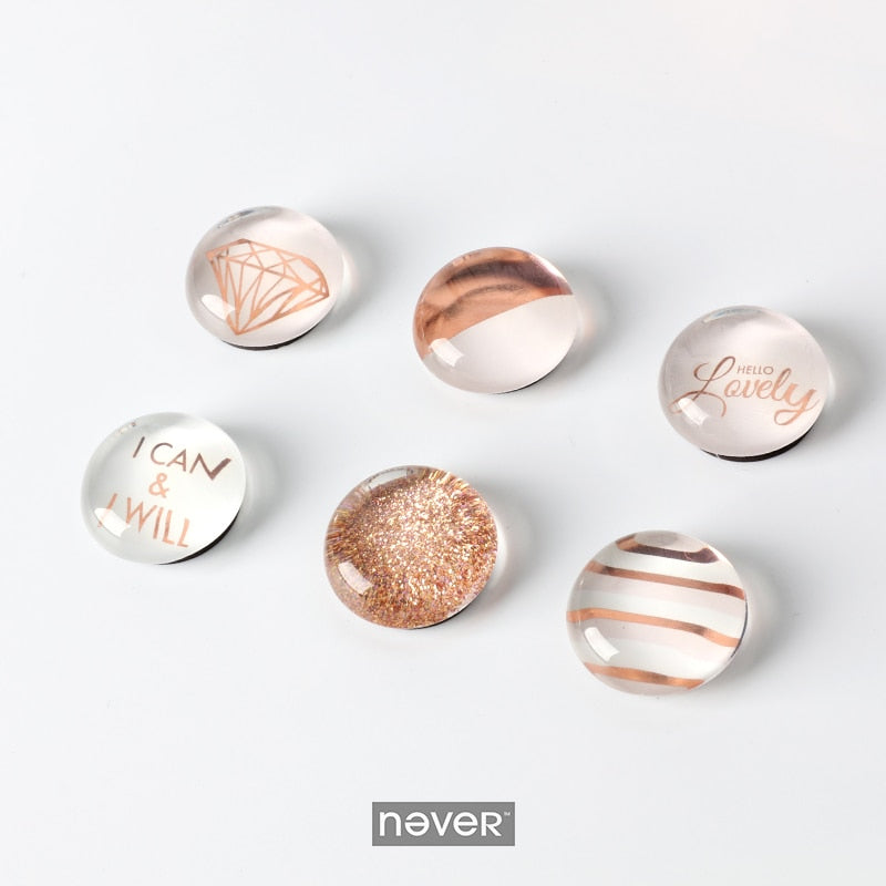 6 Pc Rose Gold Magnets