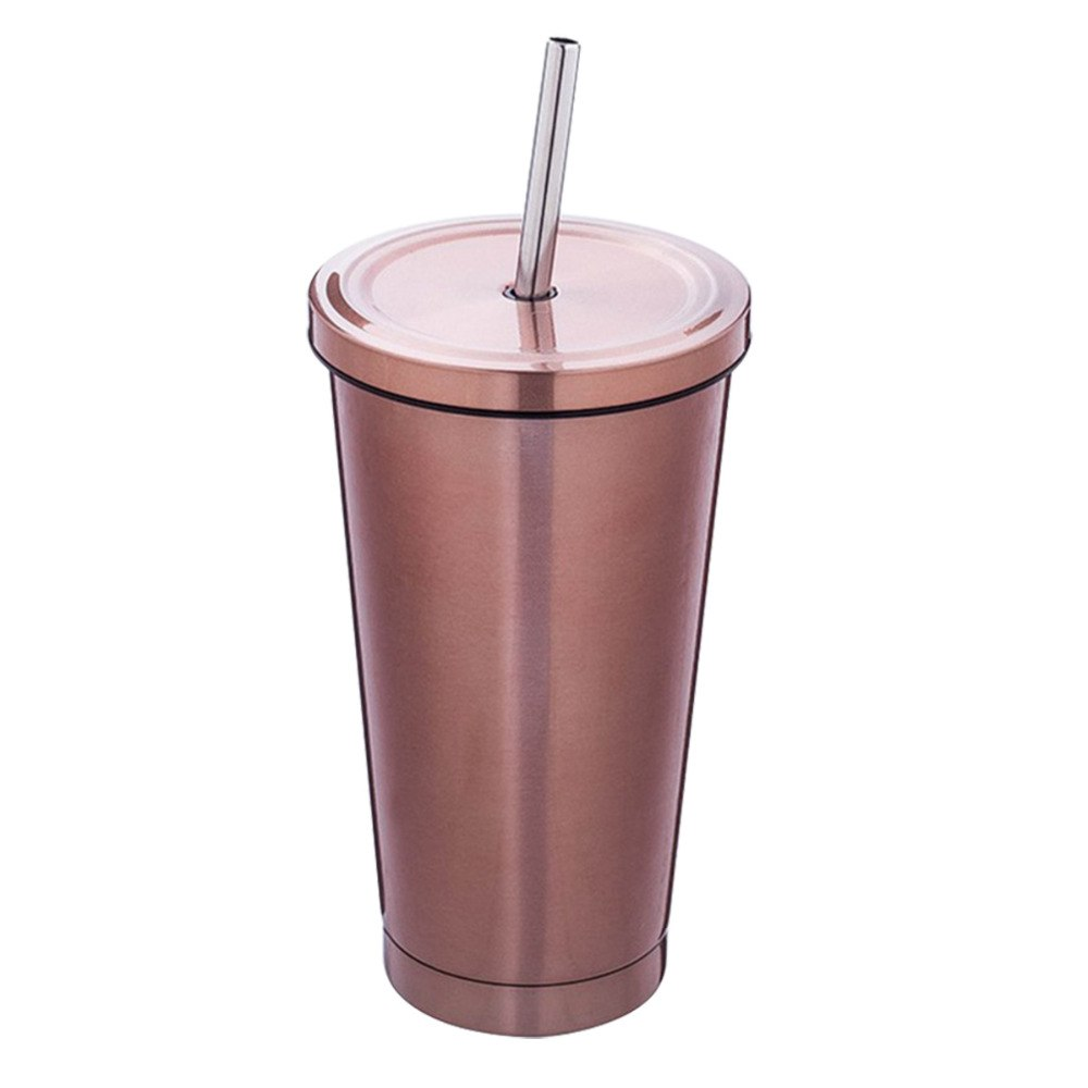 Rose Gold Stainless Steel Cup with Straw
