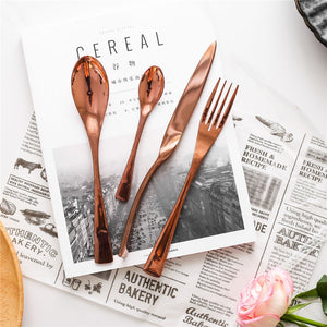 4 Pc Rose Gold Modern Stainless Steel Tableware Set