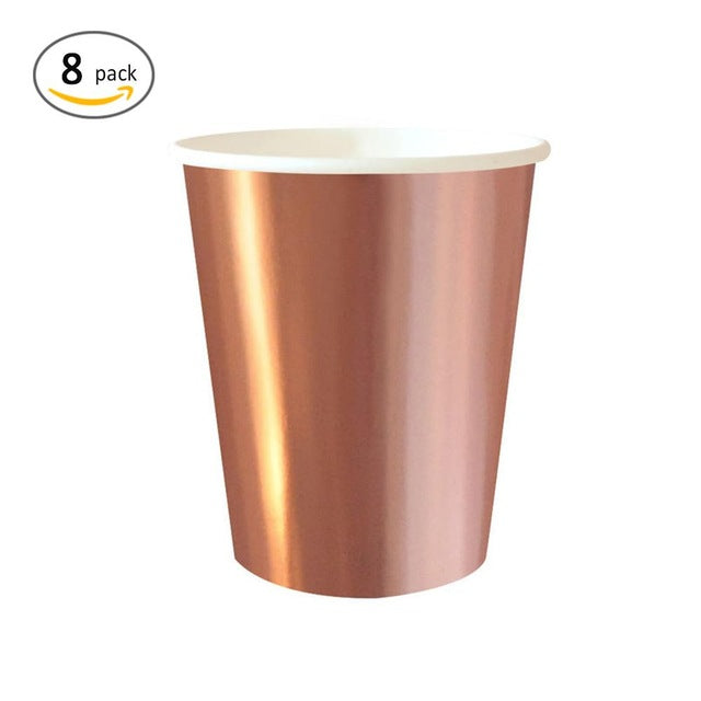8 Pc Rose Gold Disposable Tableware Set
