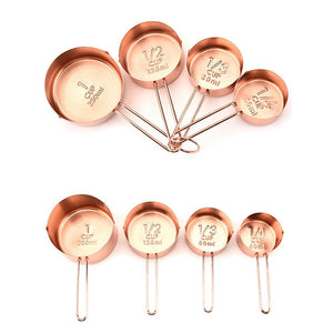 4 Pc Rose Gold Copper Stainless Steel Measuring Cups