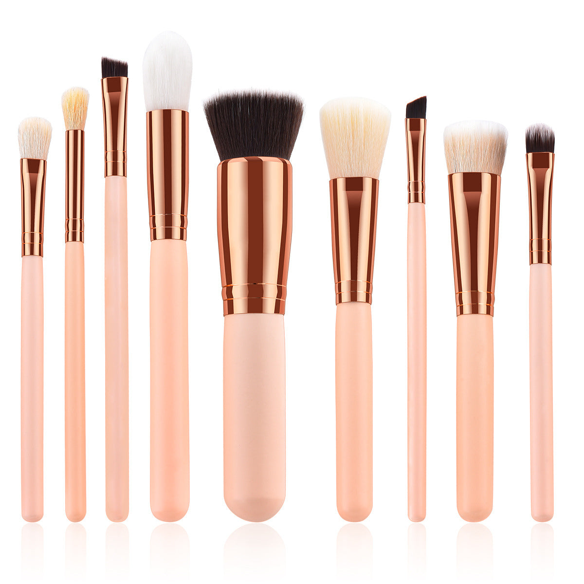 9 Pc Rose Gold Traveling Makeup Brushes