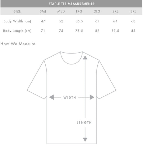 regular fit t-shirt sizing guide