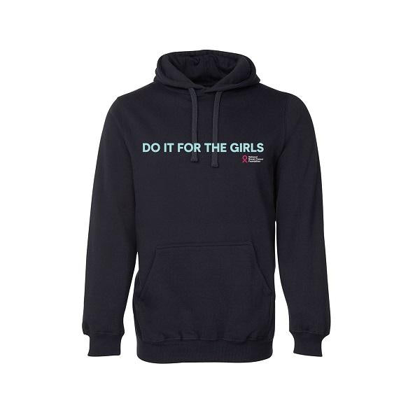 Do It For The Girls medium slogan hoodie with blue font