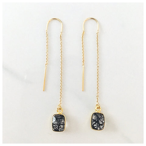 Tourmalated Quartz Threader Earrings