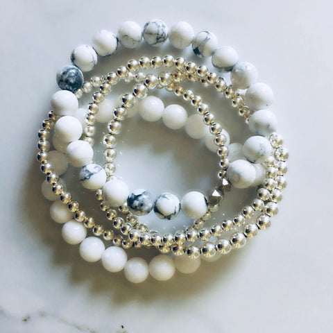 Gemstone Bracelets (Summer Whites)