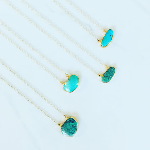 Raw Turquoise Double-Bail Necklace