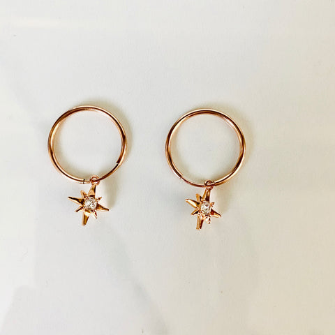 Rose Gold Star Hoops