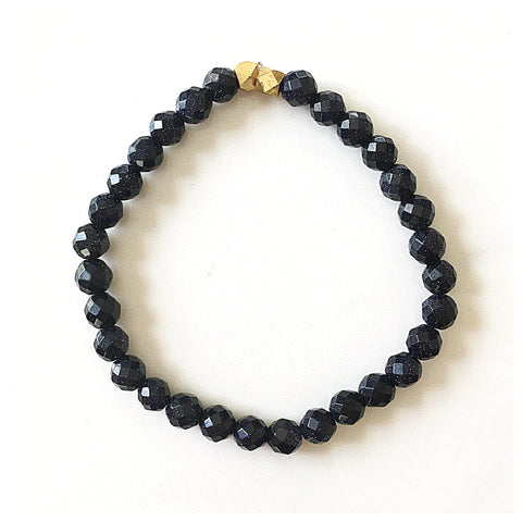 Navy Goldstone Stretch Bracelet