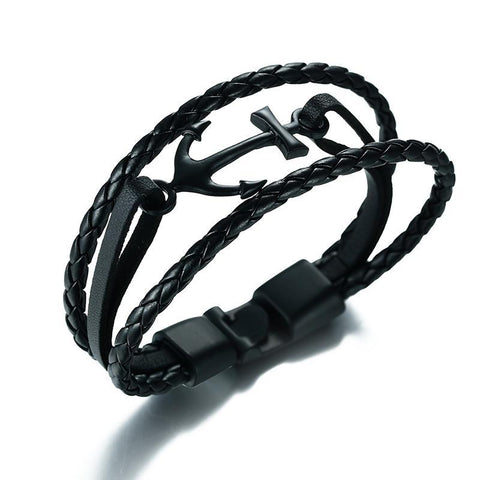 Anchor Multi-layer Twisted Braided Leather Bracelet